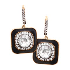 Black Enamel Rose-Cut Center Diamond Earrings