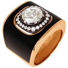 Black Enamel Round Center Diamond Ring