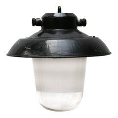 Black Enamel Semi Frosted Clear Glass Vintage Industrial Lamp Pendants (8x)