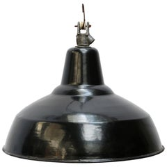Black Enamel Vintage Dutch Industrial Hanging Lamp