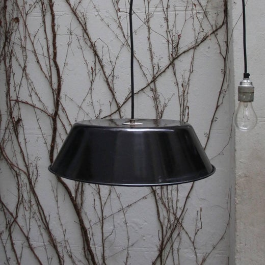 black enamel vintage french industrial pendant lamps 2x for sale