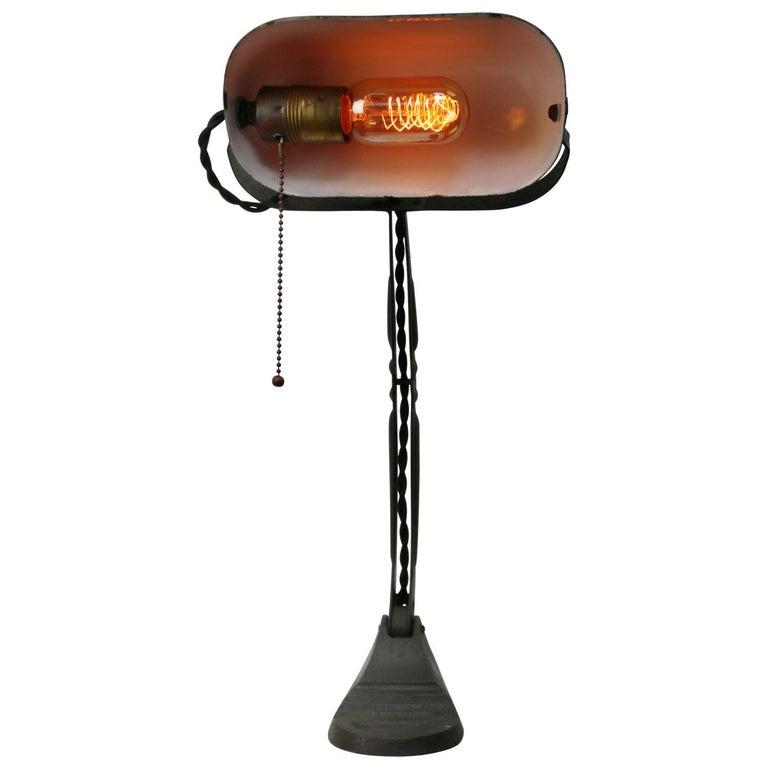 Cast Black Enamel Vintage Industrial Banker Light Table Desk Light