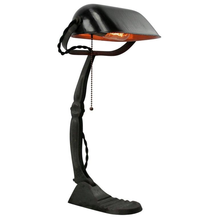Black Enamel Vintage Industrial Banker Light Table Desk Light