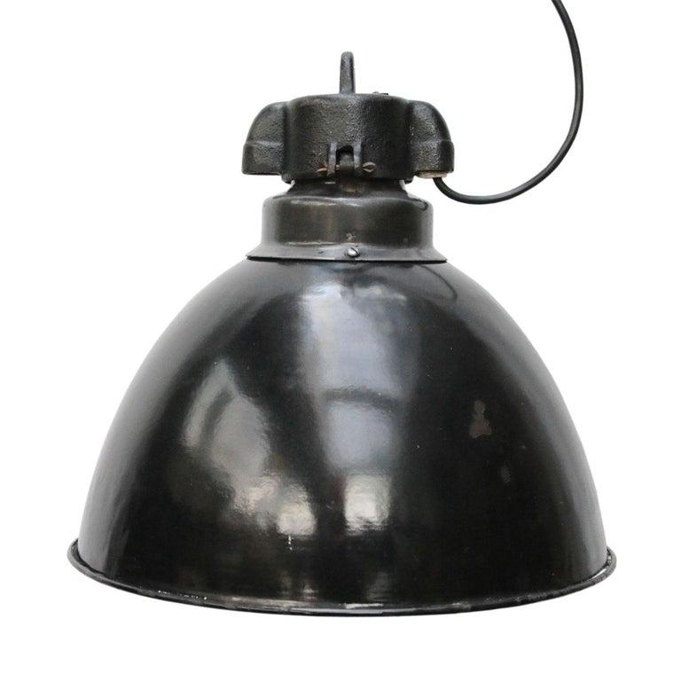 Czech Black Enamel Vintage Industrial Bauhaus Pendant Lights, 1930s For Sale
