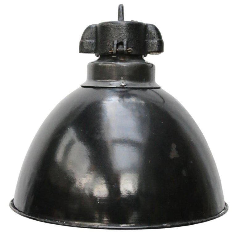 Black Enamel Vintage Industrial Bauhaus Pendant Lights, 1930s For Sale