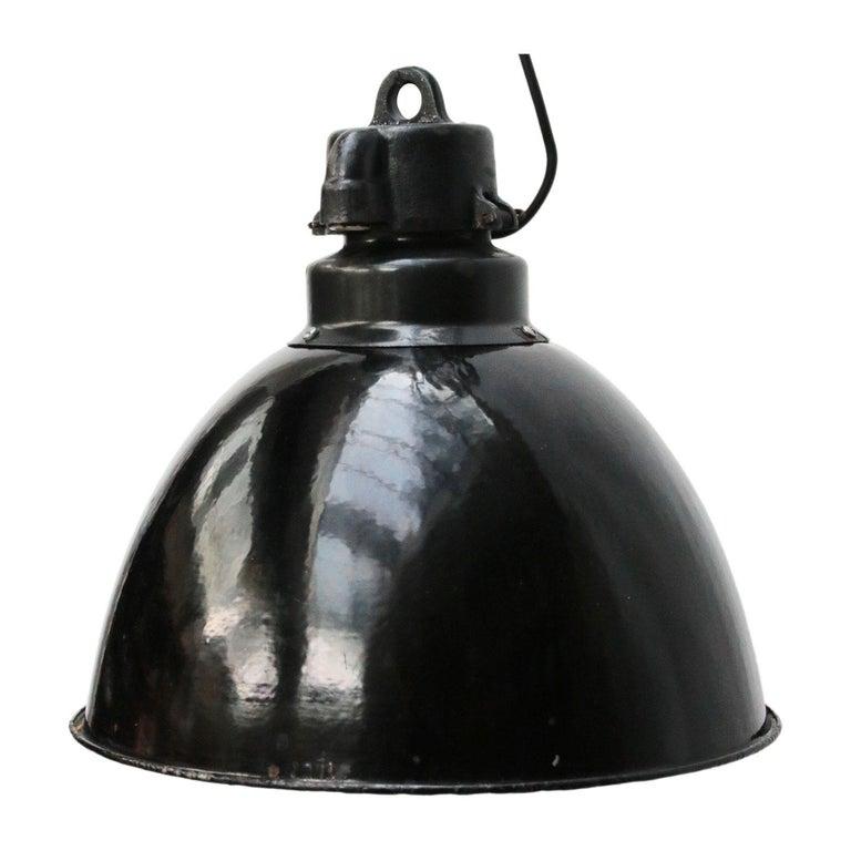 Cast Black Enamel Vintage Industrial Bauhaus Pendant Lights, 1930s For Sale