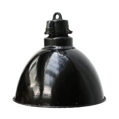Black Enamel Vintage Industrial Bauhaus Pendant Lights, 1930s