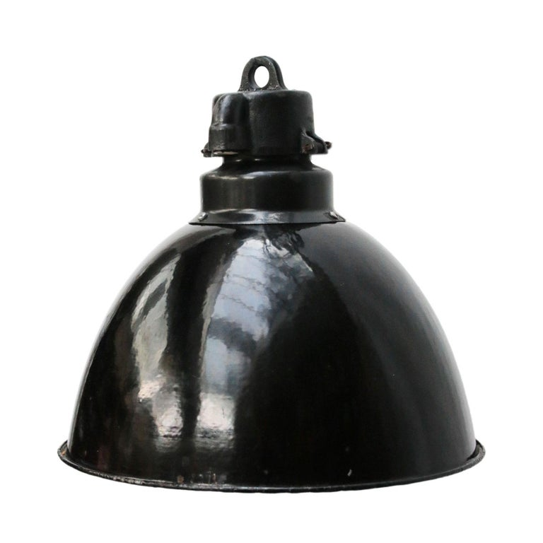 Vintage Industrial Enamel Pendant Light: Black Enamel Vintage Industrial Bauhaus Pendant Lights