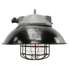 Black Enamel Vintage Industrial Cast Aluminum Top Clear Glass Pendant Light