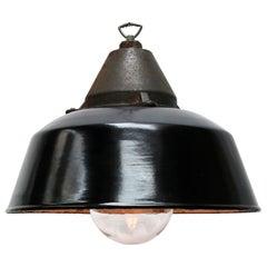 Black Enamel Vintage Industrial Cast Iron Clear Glass Hanging Lights