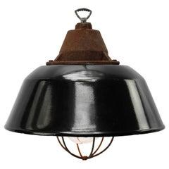 Black Enamel Vintage Industrial Cast Iron Clear Glass Pendant Lights