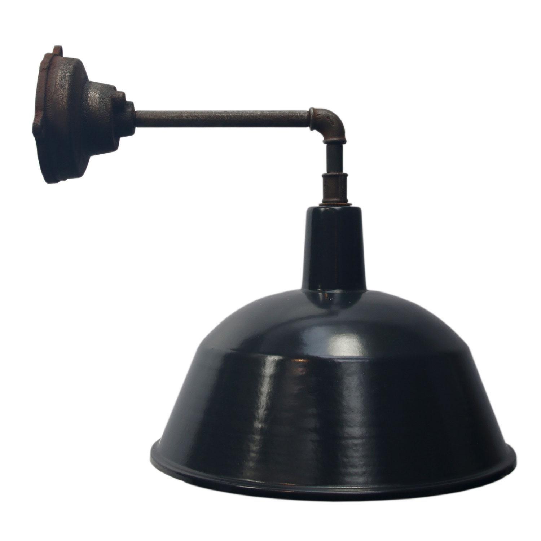 Black Enamel Vintage Industrial Cast Iron Factory Wall Lights