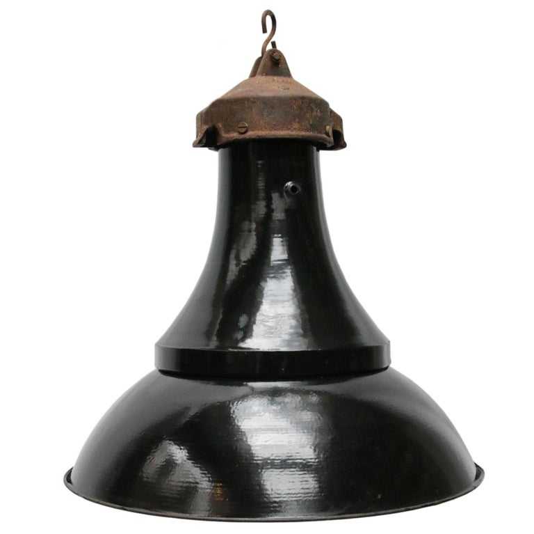 Vintage Industrial Enamel Pendant Light: Black Enamel Vintage Industrial Cast Iron Top Bauhaus