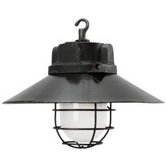 Black Enamel Vintage Industrial Cast Iron Top Frosted Glass Pendant Lights (5x)