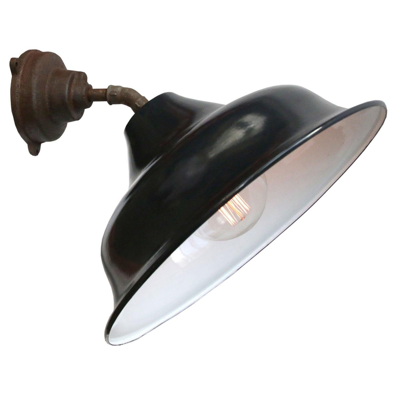 Black Enamel Vintage Industrial Cast Iron Wall Lights Scones