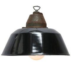 Black Enamel Vintage Industrial Clear Glass Cast Iron Pendant Lights