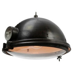 Black Enamel Vintage Industrial Clear Glass Pendant Lamp