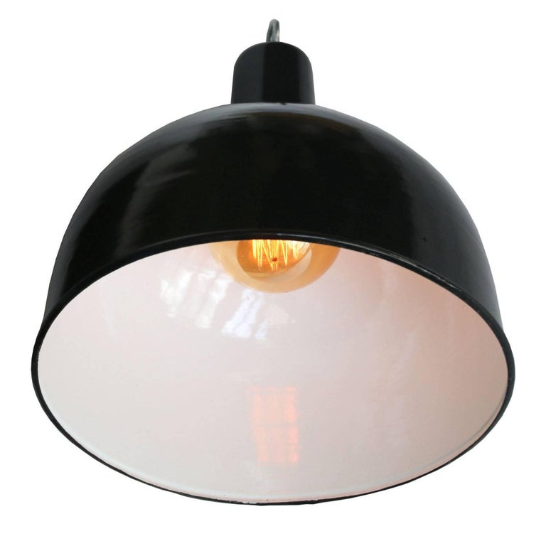 Factory hanging light. Black enamel. White interior.  Weight: 1.4 kg / 3.1 lb  Priced individual item. All lamps have been made suitable by international standards for incandescent light bulbs, energy-efficient and LED bulbs. E26/E27 bulb