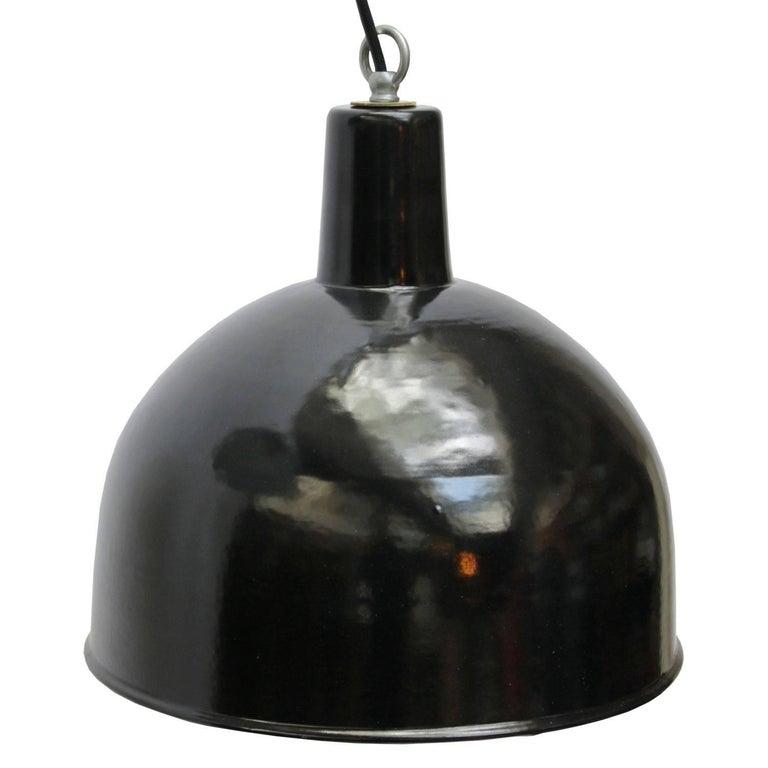 20th Century Black Enamel Vintage Industrial Factory Hanging Lights Pendants For Sale