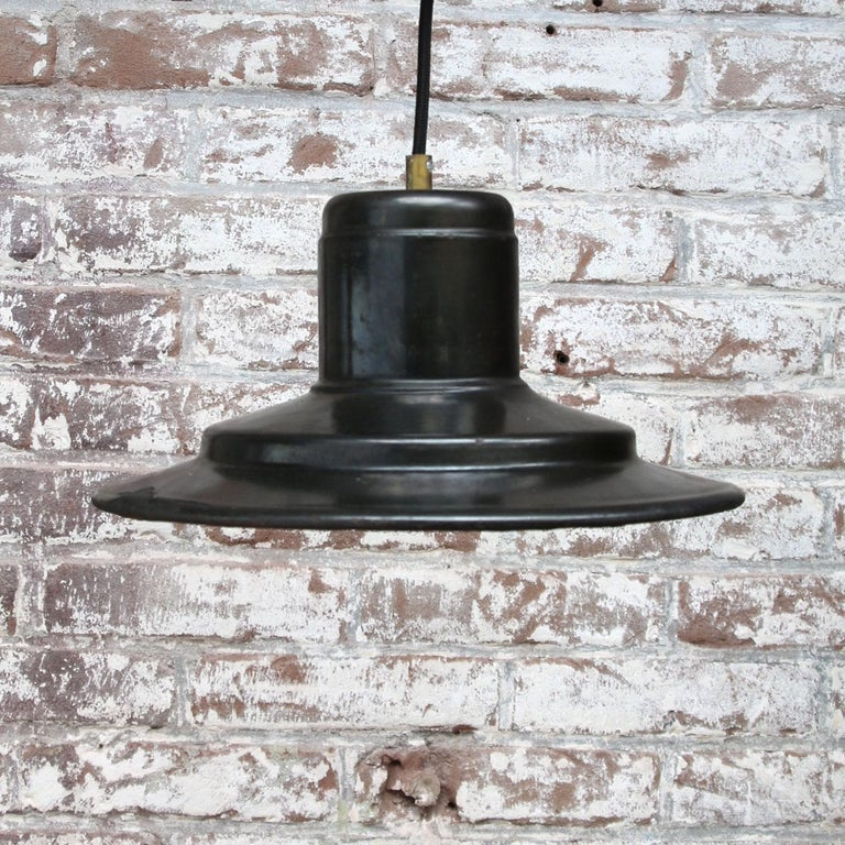 Black Enamel Vintage Industrial Factory Hanging Lights Pendants  In Good Condition For Sale In Amsterdam, NL