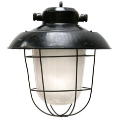 Black Enamel Vintage Industrial Frosted Glass Pendant Lamp