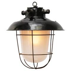 Black Enamel Vintage Industrial Frosted Glass Pendant Lights