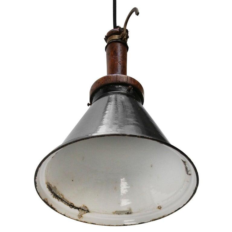 Dutch Black Enamel Vintage Industria Rotterdam Work Light For Sale