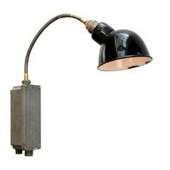 Black Enamel Vintage Industrial Metal Flexible Arm Wall Light