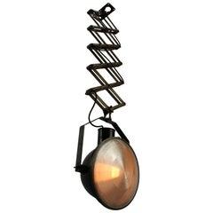 Black Enamel Vintage Industrial Metal Holophane Glass Scissor Light