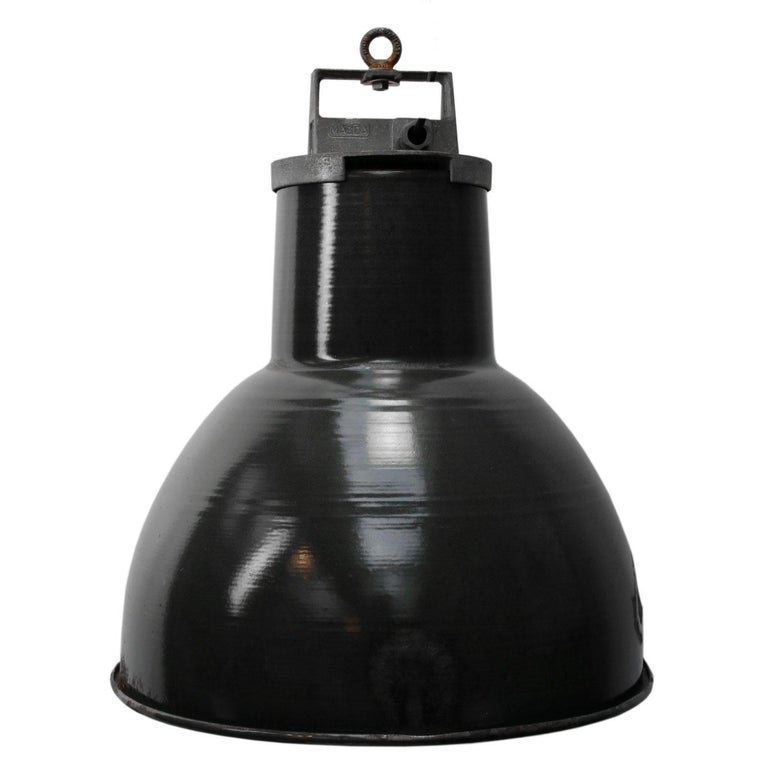 Vintage Industrial Enamel Pendant Light: Black Enamel Vintage Industrial Metal Top Pendant Light