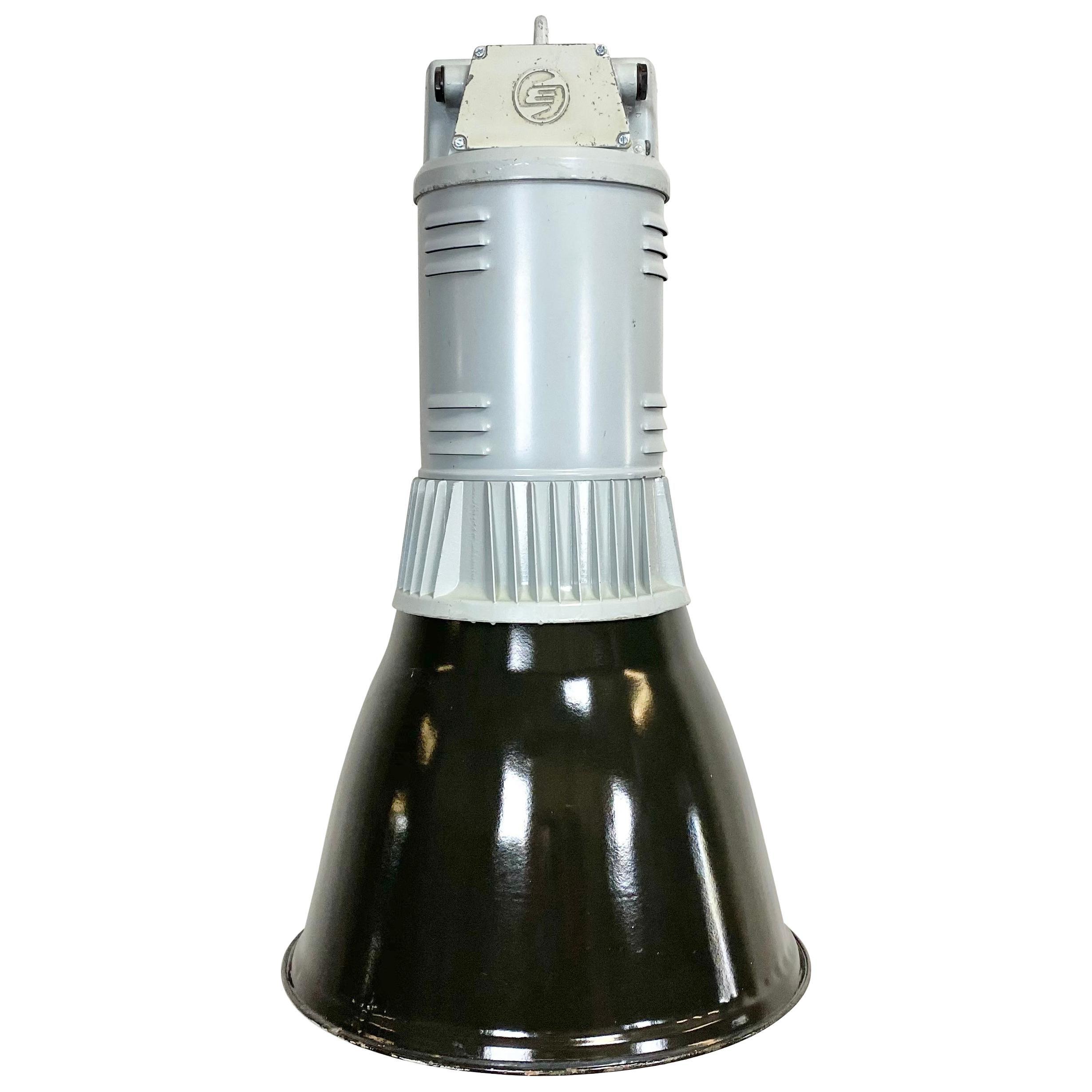 Black Enamel Vintage Industrial Pendant Lamp, 1960s