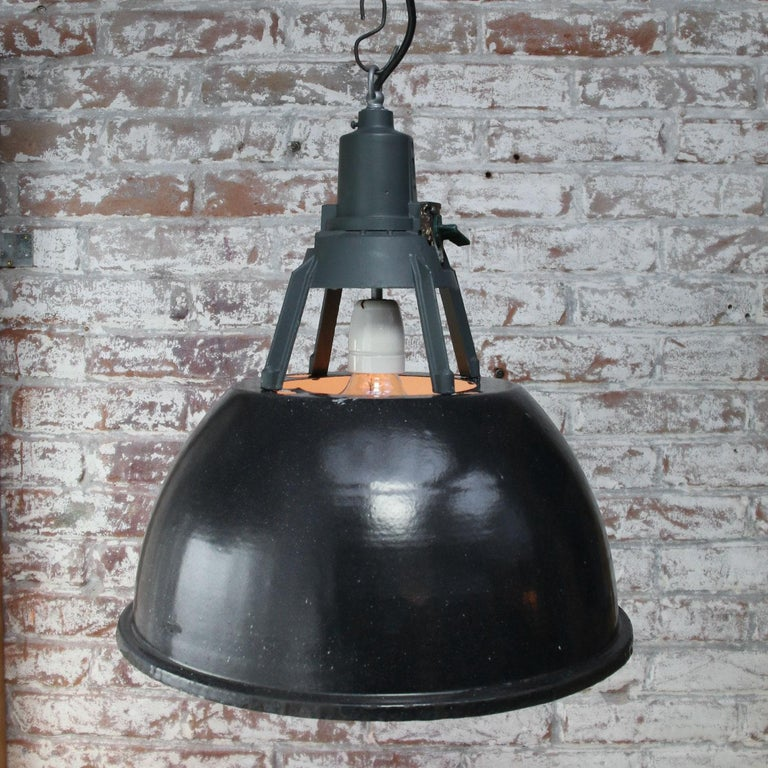Cast Black Enamel Vintage Industrial Pendant Light For Sale