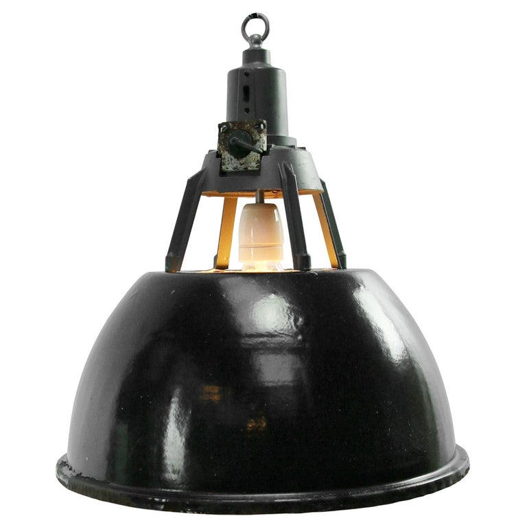 Black Enamel Vintage Industrial Pendant Light For Sale