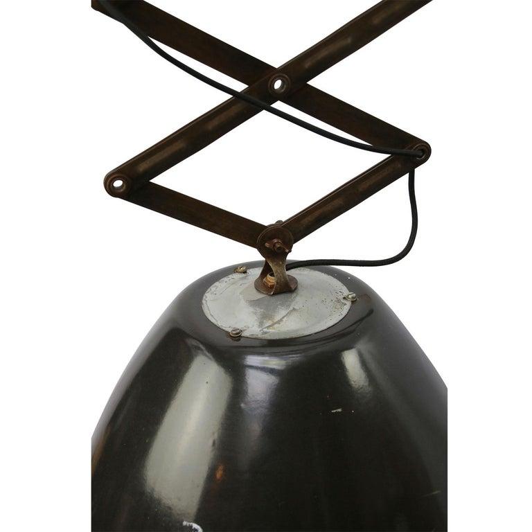 Scissor varia steel pendant adjustable length black enamel spot, white interior   Spotlight size: diam. 53 cm (height 40 cm) 90° angle adjustable shade  As shown on picture 160 cm Min. length 70 cm Max. length 220 cm  Metal mounting