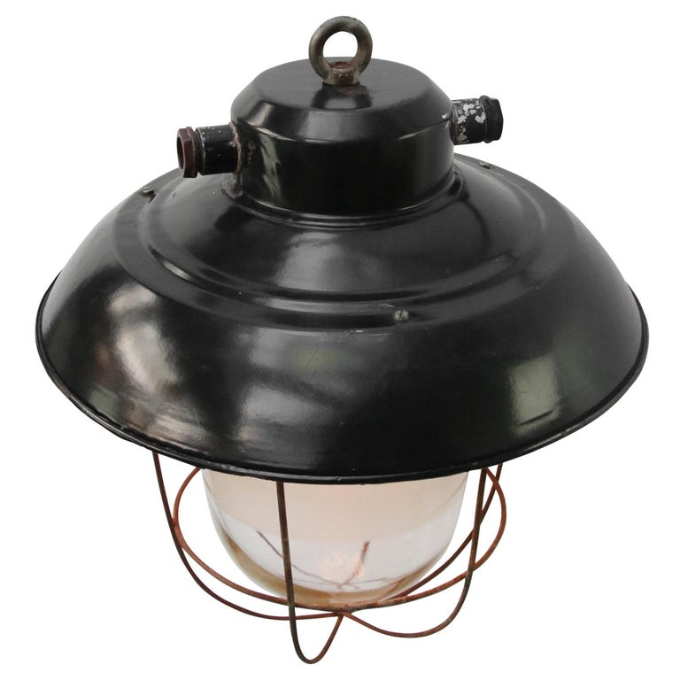 Black Enamel Vintage Industrial Semi Frosted Pendant Lights In Good Condition For Sale In Amsterdam, NL