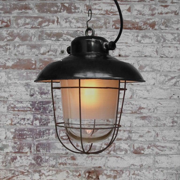 20th Century Black Enamel Vintage Industrial Semi Frosted Pendant Lights For Sale