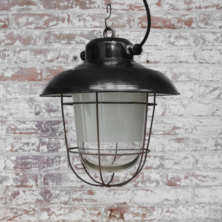 Black Enamel Vintage Industrial Semi Frosted Pendant Lights For Sale 1