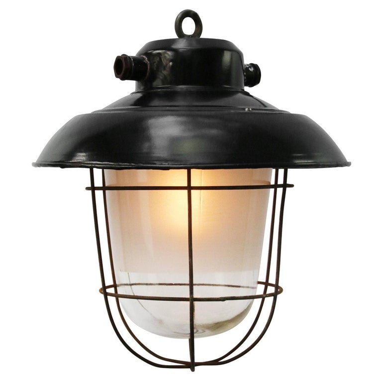 Black Enamel Vintage Industrial Semi Frosted Pendant Lights For Sale