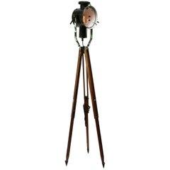 Black Enamel Vintage Industrial Spot Light Tripod Wooden Legs