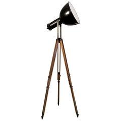 Black Enamel Vintage Industrial  Wooden Tripod Spotlight Floor Lamps