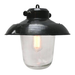 Black Enamel Vintage Industrial Clear Glass Pendant Lights (3x)