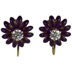 Black Enamel White Diamond Yellow Gold Flower Earrings