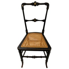 Black English Bedside Chair with Cane Seat and Gold Gilt Detail