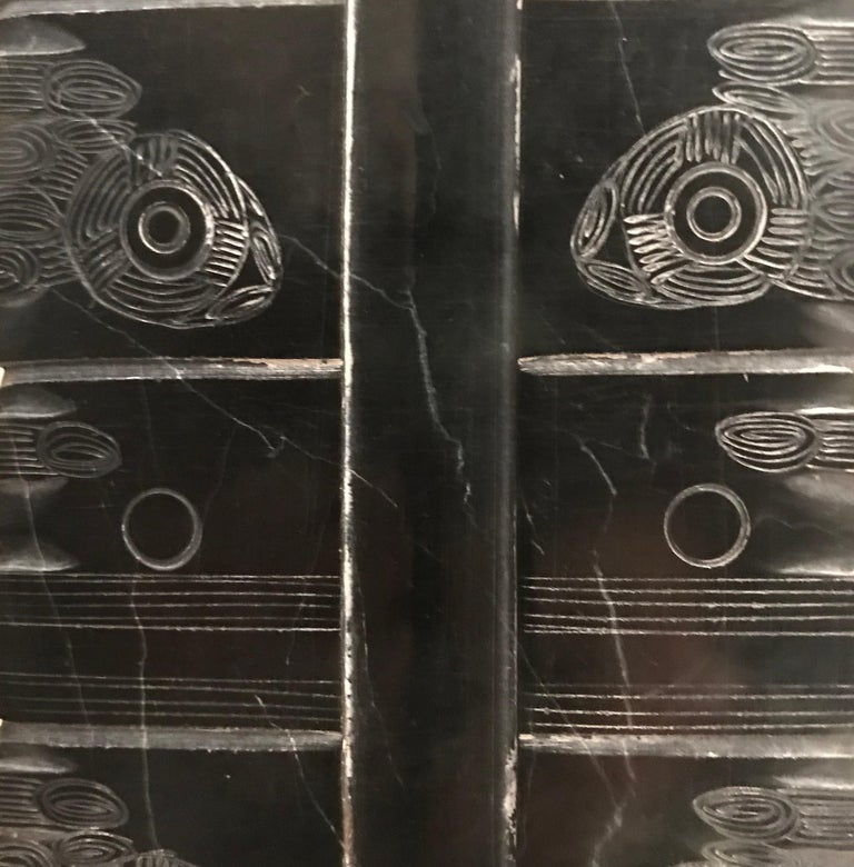 Chinese Black Engraved Stone Pair of Lamps, China, Contemporary For Sale