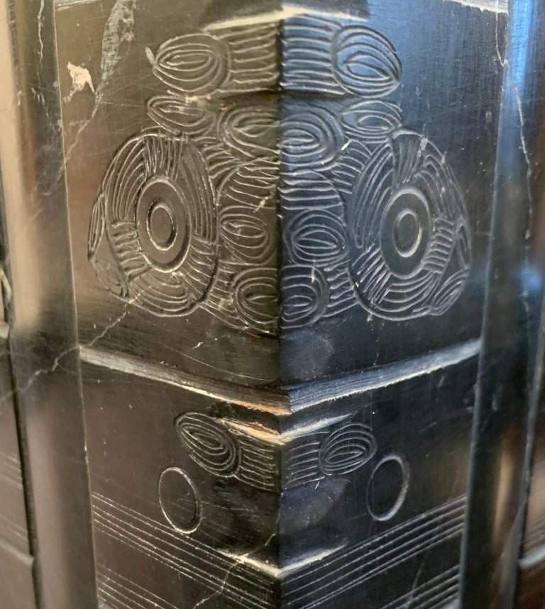 Black Engraved Stone Pair of Lamps, China, Contemporary In New Condition For Sale In New York, NY