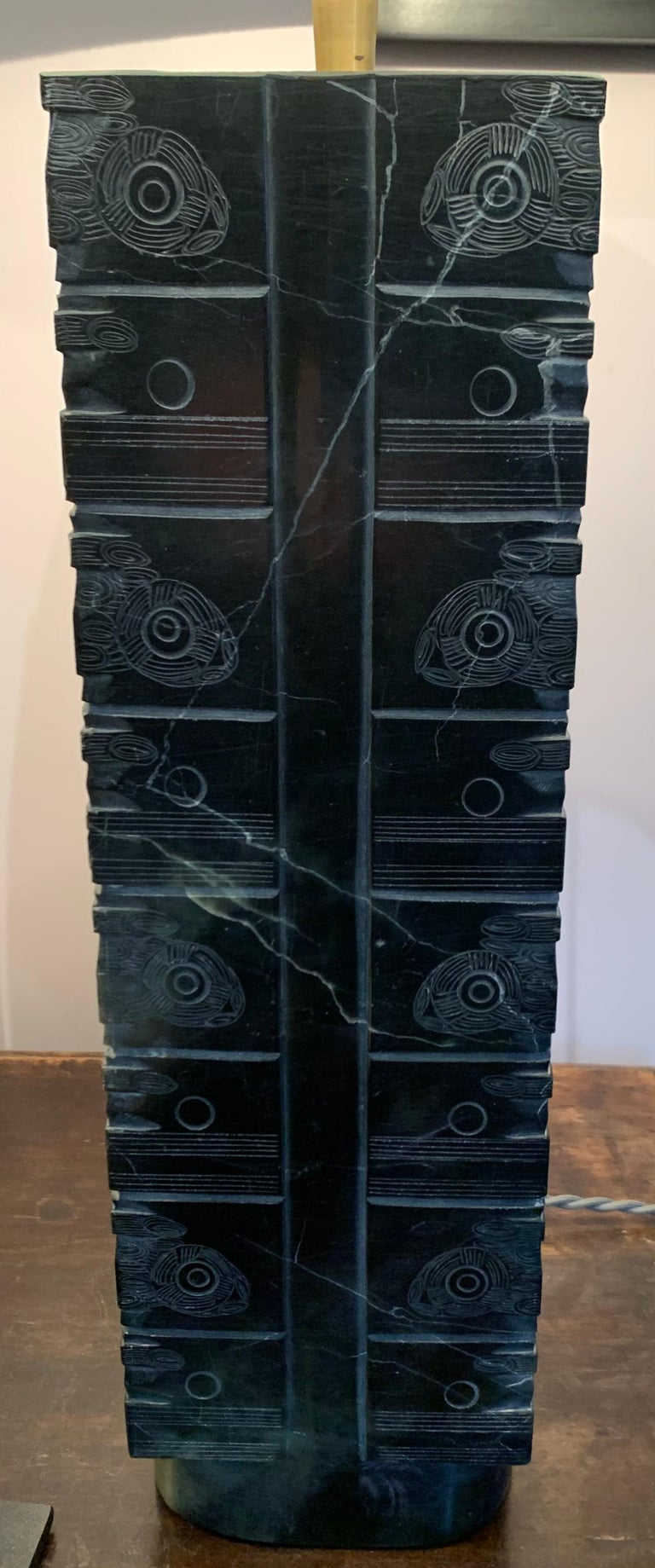 Black Engraved Stone Pair of Lamps, China, Contemporary For Sale 1