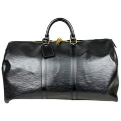 Black Epi leather Louis Vuitton Keepall 50 Weekend Bag