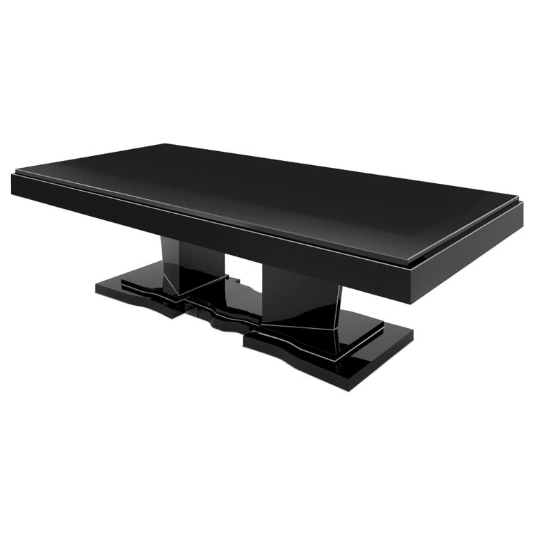 Large Black Dining Table: Black Extra Large Art Deco Design Dining Table For Sale At