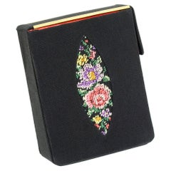 Black Faille Hard-Sided Cigarette Case with Needlepoint Marquis, 1950s