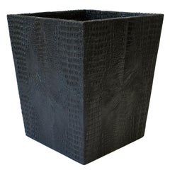 Black Faux Alligator or Crocodile Wastebasket or Trash Can